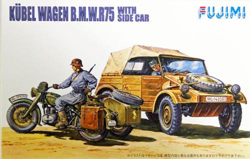 Fujimi WA20 World Armor Kubel Wagen B.M.W.R75 with Side Car 1/76 Scale Kit