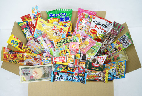 Assortment Dagashi Set Japanese Candies Chocolate Snacks - 40 Pieces Large Box