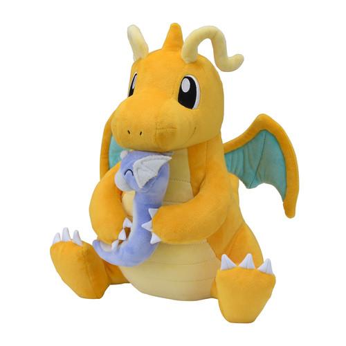 Pokemon Center Original Plush Doll TAIKI-BANSEI Hugging Dragonite & Dratini (Kairyu & Miniryu)