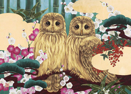 Epoch Jigsaw Puzzle 06-082 Japanese Golden Good Luck Owls (500 Pcs)
