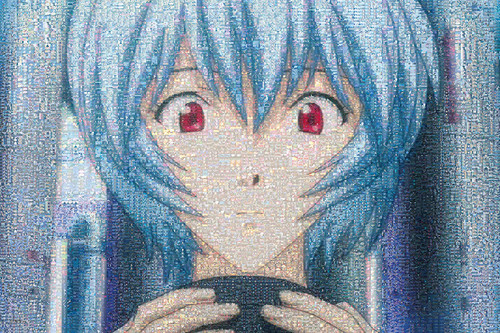 Epoch Jigsaw Puzzle 11-557S Evangelion Mosaic Art Rei Ayanami (1000 Pieces)