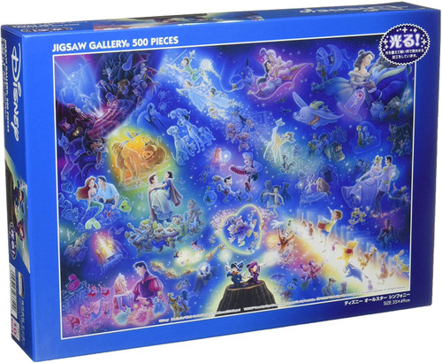 Tenyo Japan Jigsaw Puzzle D500-351 Glow in the Dark Disney All Star Symphony (500 Pieces)