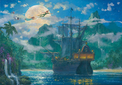Tenyo Japan Jigsaw Puzzle D1000-416 Disney Peter Pan Moon Rise Over Pirates Cove (1000 Pieces)