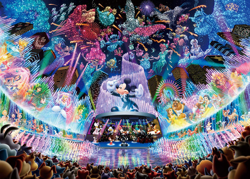 Tenyo Japan Jigsaw Puzzle D-2000-604 Glow in the Dark Disney Water Dream Concert (2000 Pieces)