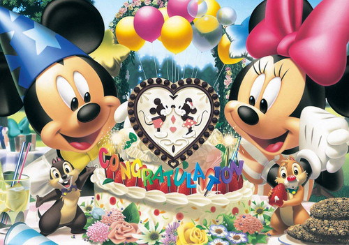 Tenyo Japan Jigsaw Puzzle D200-890 Disney Mickey and Minnie Congratulation (200 Pieces)
