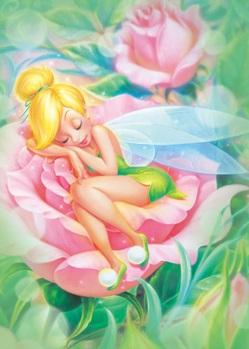 Tenyo Japan Jigsaw Puzzle D500-384 Tinker Bell Sleeping (500 Pieces)