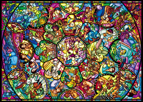 Tenyo Japan Pure White Jigsaw Puzzle DPG266-563 Disney All Star Stained Glass (266 Pieces)