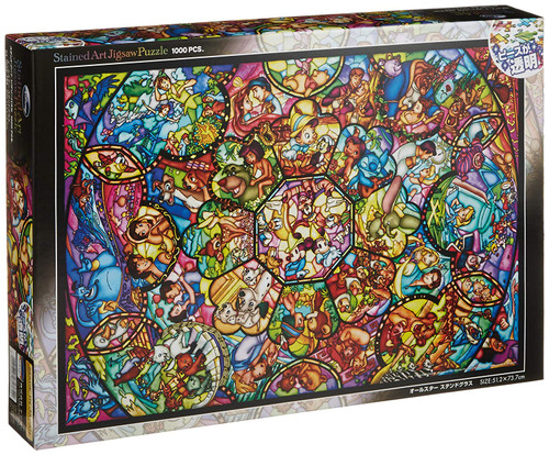 Tenyo Japan Jigsaw Puzzle DS1000-764 Disney All Star Stained Glass (1000 Pieces)