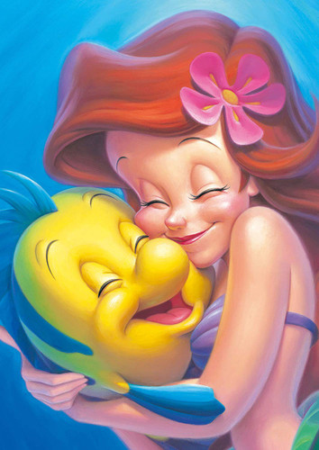 Tenyo Japan Jigsaw Puzzle DSG266B-790 Disney The Little Mermaid Ariel and Flounder (266 Pieces)