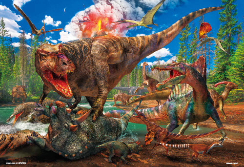 Beverly Jigsaw Puzzle 40-020 Tyrannosaurus Versus Triceratops (40 L-Pieces)