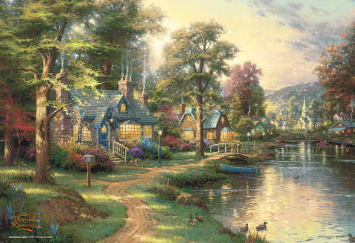 Beverly Jigsaw Puzzle 93-096 Thomas Kinkade Hometown Lake (300 Pieces)