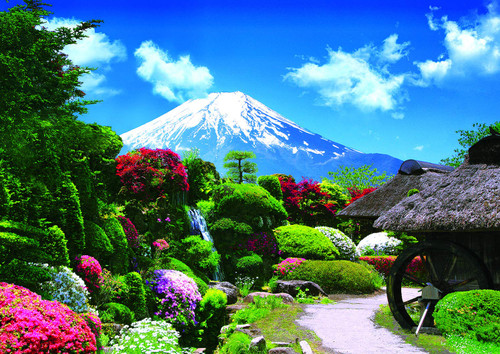Epoch Jigsaw Puzzle 01-072 Japanese Garden in Bloom and Mountain Fuji (108 Pieces)