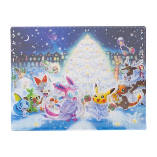 Pokemon Center Original Pokemon Frosty Christmas Spangle A4 Double Clear File