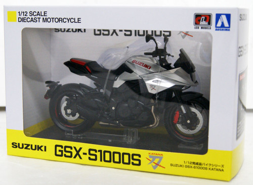 Aoshima Skynet 07010 Suzuki GSX-S1000S Katana Metallic Silver 1/12 Scale Finished Model