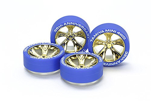 Tamiya 95098 Mini 4WD 35th Anniversary Blue Tires & Gold Plated A-Spoke Wheels