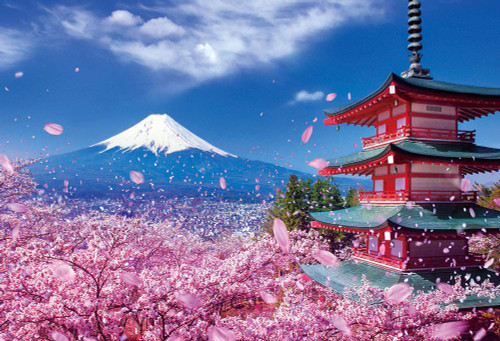 Beverly Jigsaw Puzzle M81-588 Asama Shrine with Fuji Mountain and Cherry Blossom (1000 S-Pieces)