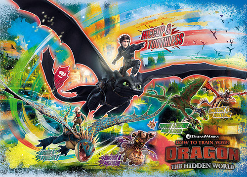 Epoch Jigsaw Puzzle 06-113s How To Train Your Dragon Riders and Dragons (500 Pieces)