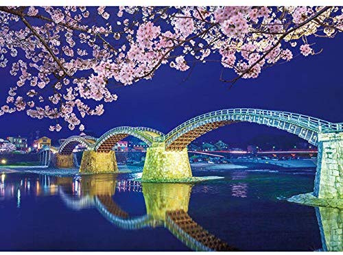 APPLEONE Jigsaw 500-268 Kintai Bridge Night Sakura (500 Pieces)
