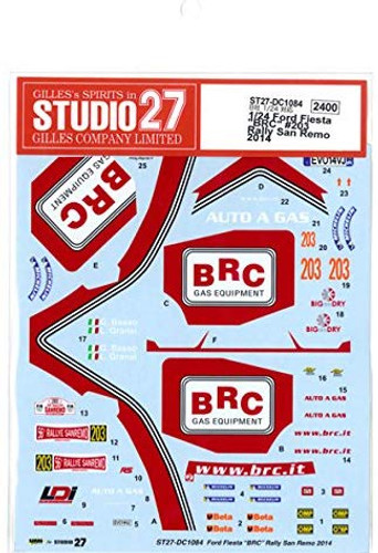 Studio27 ST27-DC1084 Ford Fiesta BRC #203 Rally San Remo 2014 Decals for Belkits 1/24 (11453)