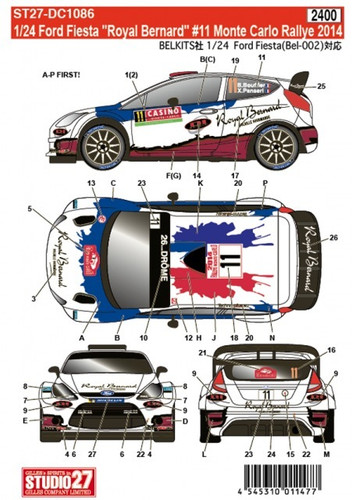 Studio27 ST27-DC1086 Ford Fiesta Royal Bernard #11 Monte Carlo 2014 Decals for Belkits 1/24 (11477)