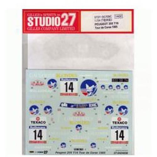 Studio27 ST27-DC709C Peugeot 205 T16 Tour de Corse '85 Decals 1/24 (07098)