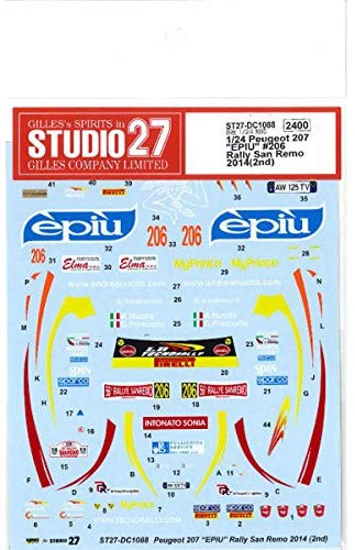 Studio27 ST27-DC1088 Peugeot 207 EPIU #206 Rally San Remo 2014(2nd) Decals for Belkits 1/24 (11606)