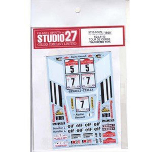 Studio27 ST27-DC879 Renault A110 San Remo #5 / Corse #7 1975 Decals for Tamiya 1/24 (00426)