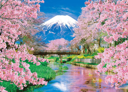 Beverly Jigsaw Puzzle 66-139 Mountain Fuji and Spring in Bloom (600 Pieces)