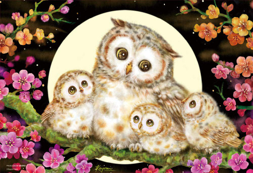 Beverly Jigsaw Puzzle M81-592 Kayomi Harai Owl Family and Flowers (1000 S-Pieces)