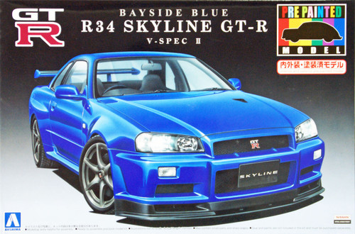 Aoshima 08591 Nissan R34 Skyline GT-R V-Spec II Bayside Blue Pre-Painted 1/24 Scale Kit