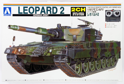 Aoshima 01509 RC AFV Series No. 6 German Army Leopard 2 1/48 Scale Kit