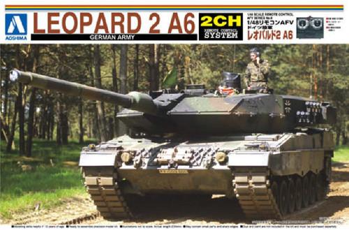 Aoshima 00847 RC AFV Series No. 8 German Army Leopard 2 A6 1/48 Scale Kit