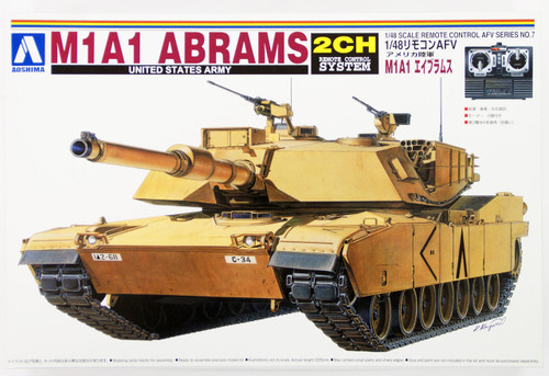 Aoshima 00823 RC AFV Series No. 7 US Army M1A1 Abrams 1/48 Scale Kit
