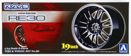 Aoshima 49549 Tire & Wheel Set No. 80 Volk Racing RE30 19 inch 1/24 Scale Kit