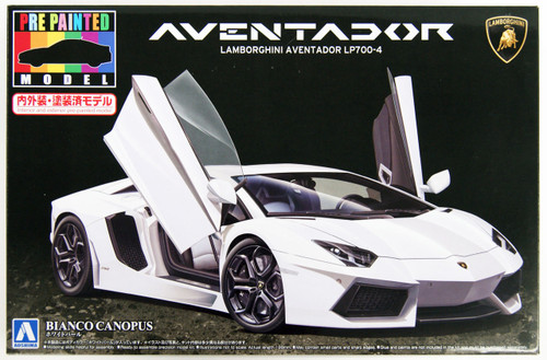 Aoshima 11393 Lamborghini Aventador LP700-4 (White Pearl) 1/24 Scale Kit (Pre-painted Model)