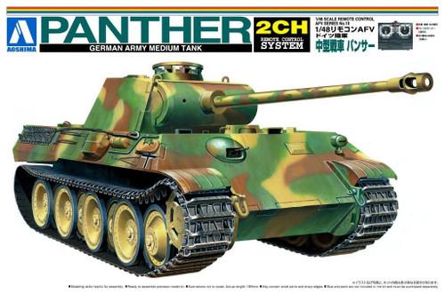 Aoshima 48658 RC AFV Series No. 10 German Army Medium Tank Panther 1/48 Scale Kit