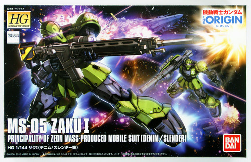 Bandai Gundam The Origin 009 MS-05 ZAKU I (Denim/ Slender) 1/144 Scale Kit