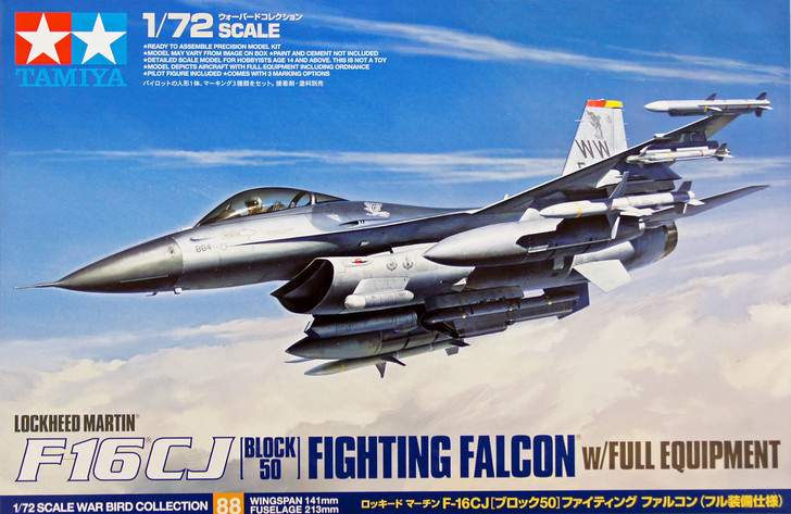 Tamiya 60701 1//72 Scale Aircraft Model Kit General Dynamics F-16 Fighting Falcon