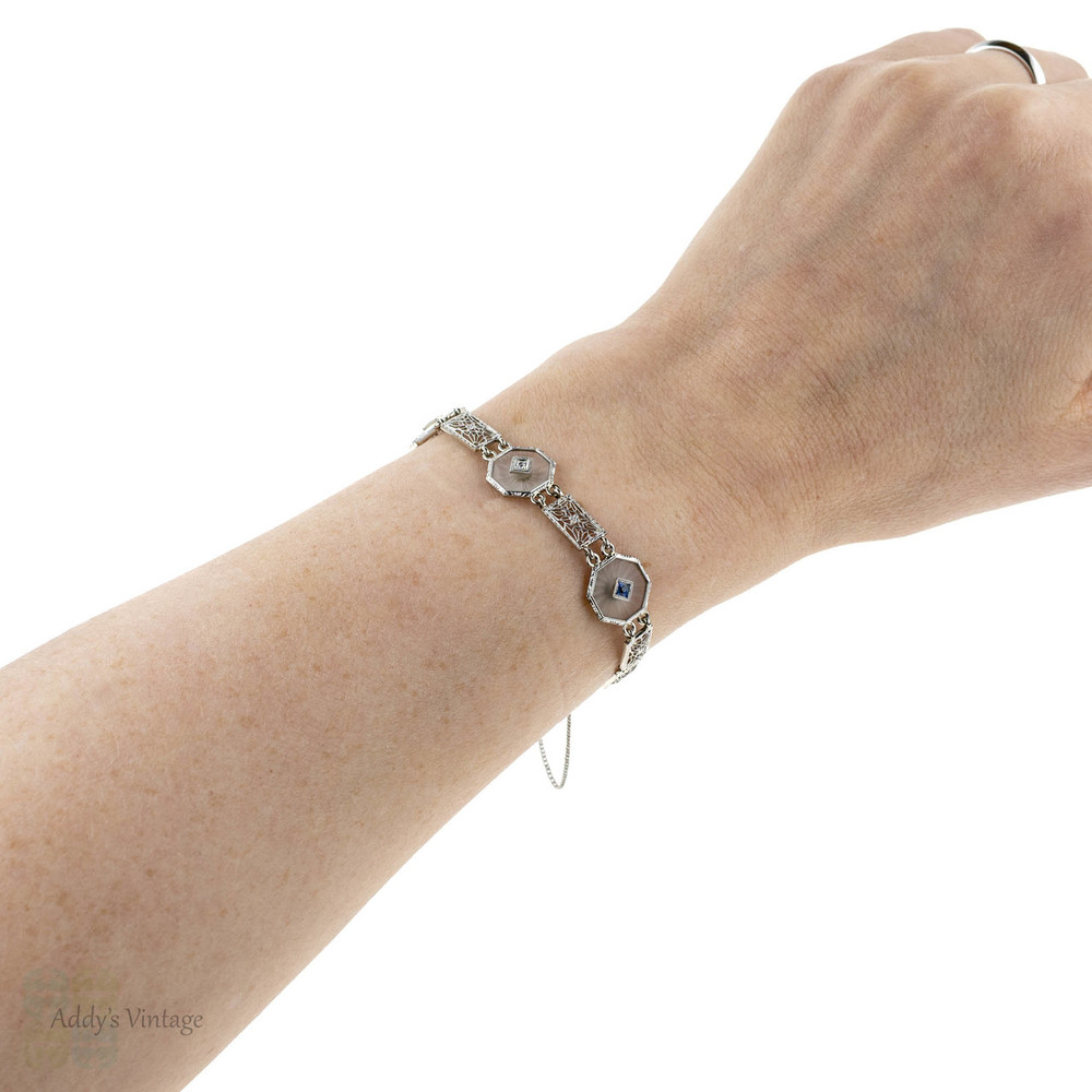 Art Deco Camphor Glass, Diamond & Sapphire Bracelet. Filigree Link 14k White Gold Bracelet.