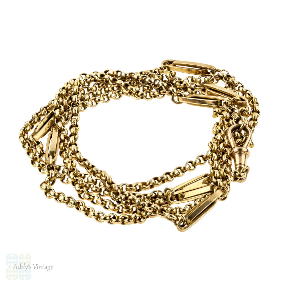 Antique 9ct Long Guard Chain, Victorian 9k Gold Necklace. 45 Inches, 29 Grams.
