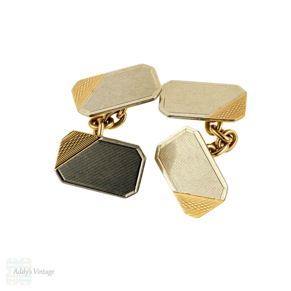 Vintage 9k Gold Cuff Links. Men's 9ct Two-Tone Engine Turned Cufflinks. Circa 1940s.