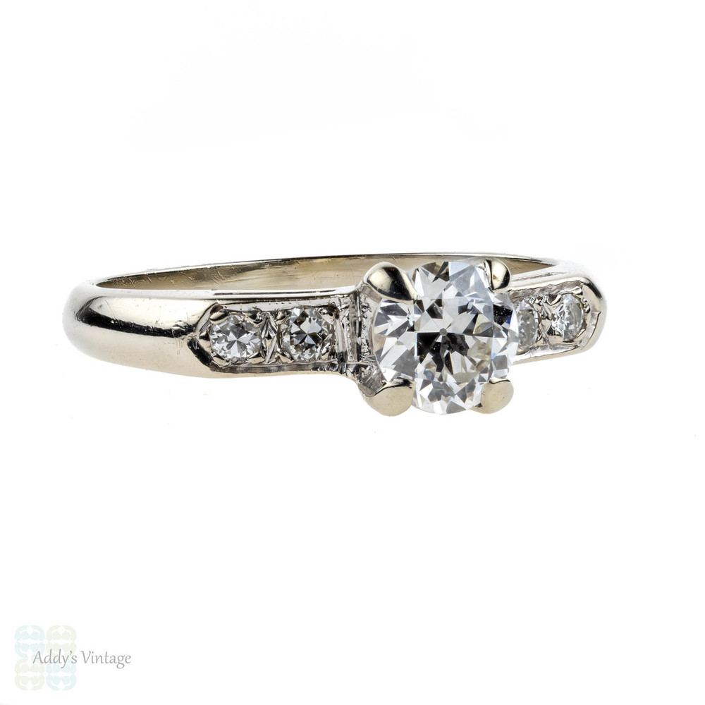 Vintage Old European Cut Diamond Engagement Ring. 14k White Gold, Circa 1950s, 0.60 ct.