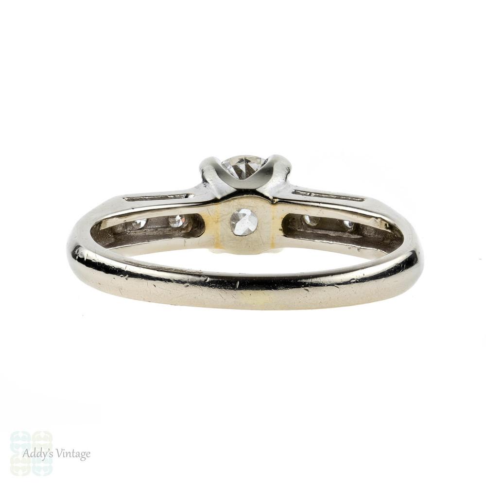 Old European Cut Diamond Engagement Ring, Mid Century 14k 14ct White Gold Band.