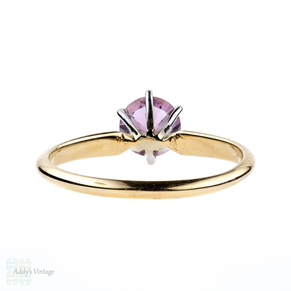 Pink Sapphire Engagement Ring, Vintage 14ct 14k Yellow Gold 0.62ct Single Stone Ring.