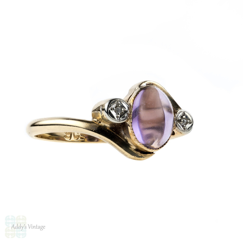 Vintage Amethyst Diamond Ring 9k Bypass Twist Design 9ct Gold Ring