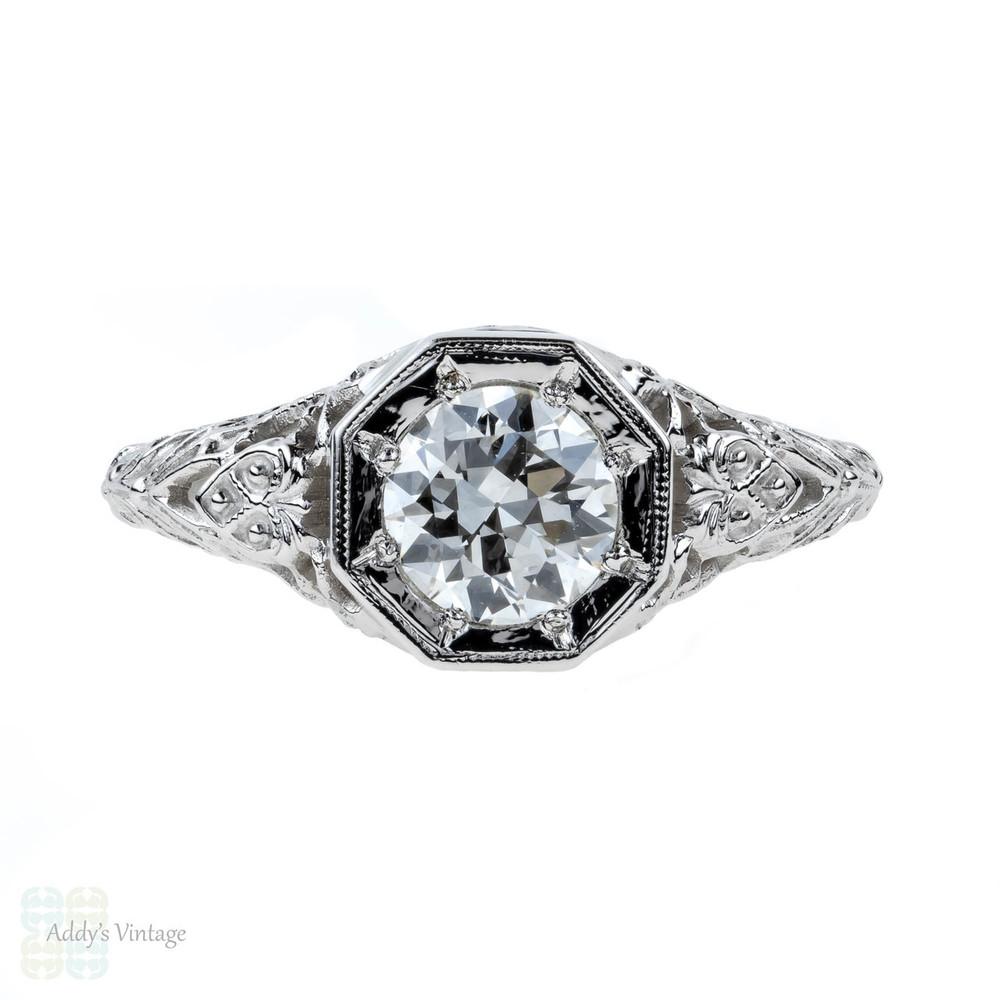 Jabel Filigree Diamond Engagement Ring, 18k Vintage 0.77 ct Old European Cut. 18ct White Gold.