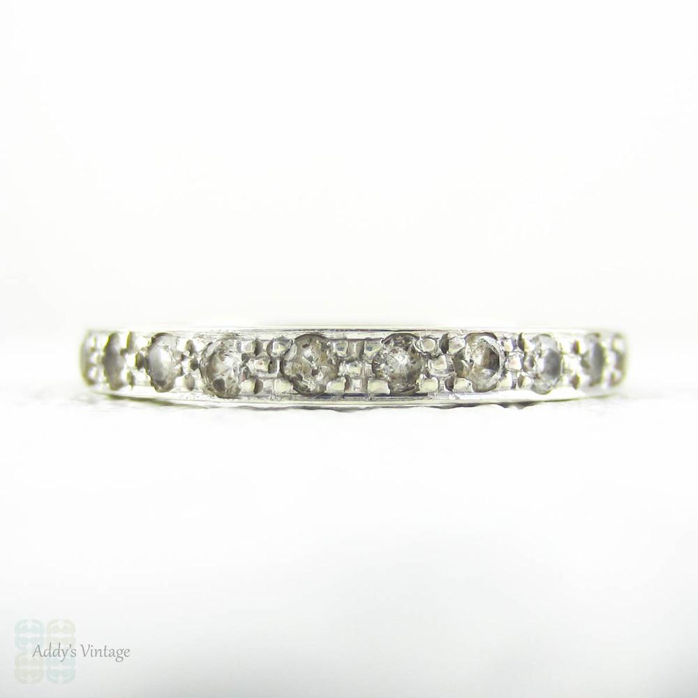 e1f9094c774bb Vintage Quartz & 9 Carat Gold Eternity Ring, Pave Set White Quartz ...