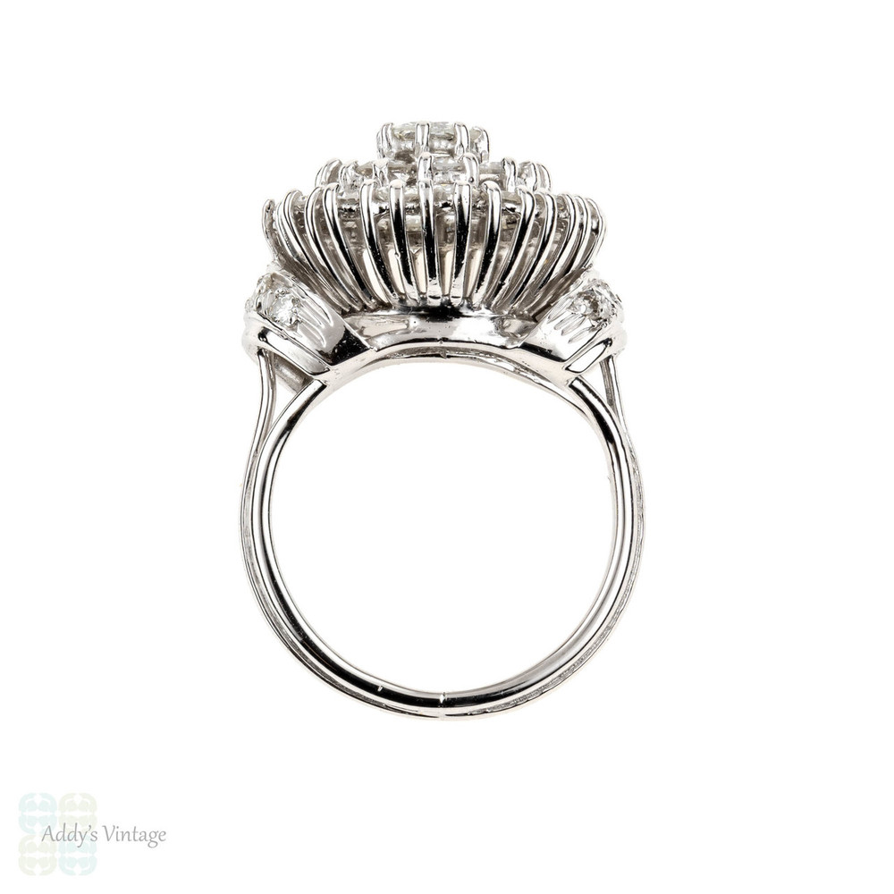 Diamond Cocktail Ring, Vintage 18k White Gold Large Target Diamond Dinner Ring, 1.60ctw.
