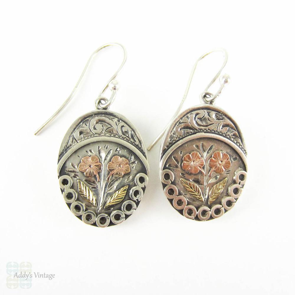 Victorian Aesthetic Silver Drop Earrings