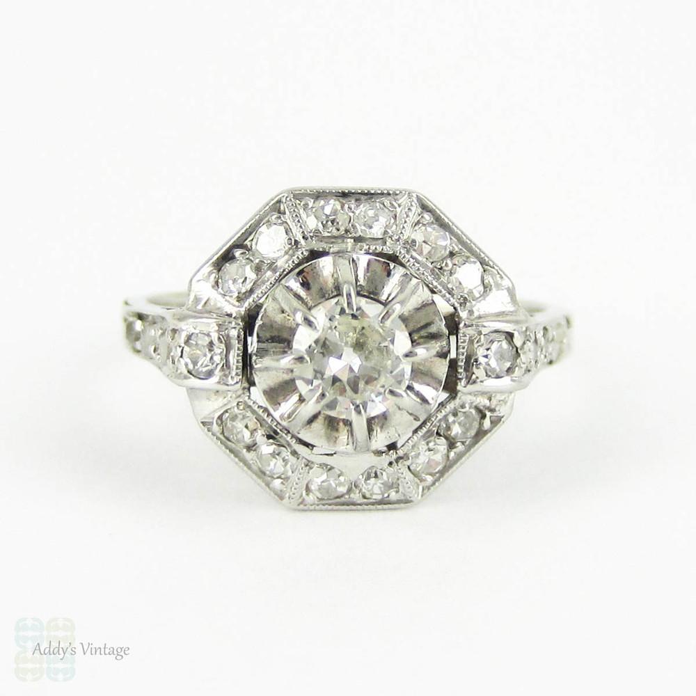 8665802c3 French Art Deco Diamond Ring, Octagonal Halo Dinner Ring. Late Art Deco  Diamond Ring, 0.36 ctw. Circa 1930s, 18 Carat White Gold. - Addy's Vintage